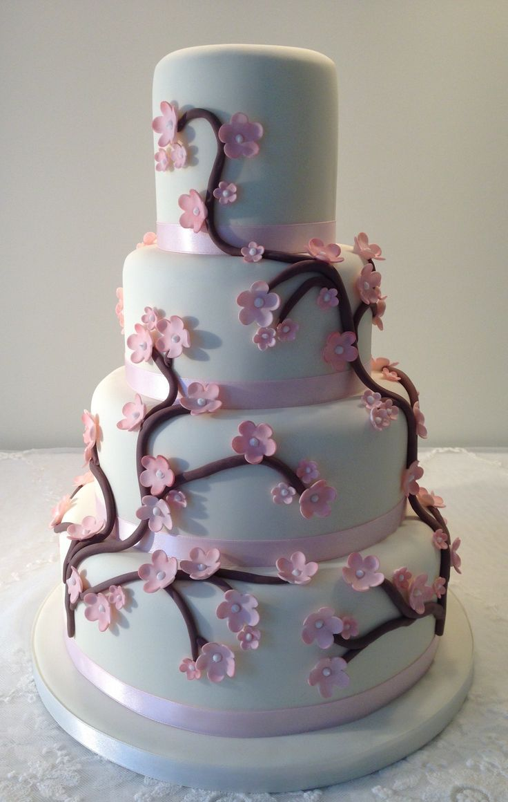 Cherry blossom wedding cake by Plumtree Bakehouse