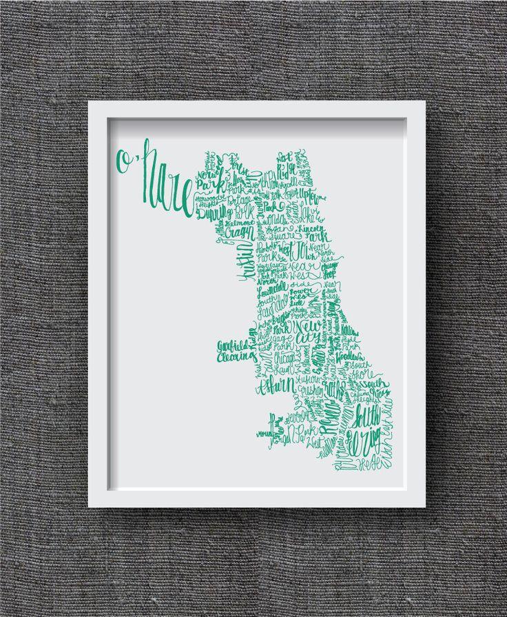 Hand Lettered Chicago Neighborhood Art Print -- Chicago Map Art Print -- Chicago Typography Map Art Print, Chicago Gift, Chicago Decor by FrannyandFranky on Etsy https://www.etsy.com/listing/183337876/hand-lettered-chicago-neighborhood-art