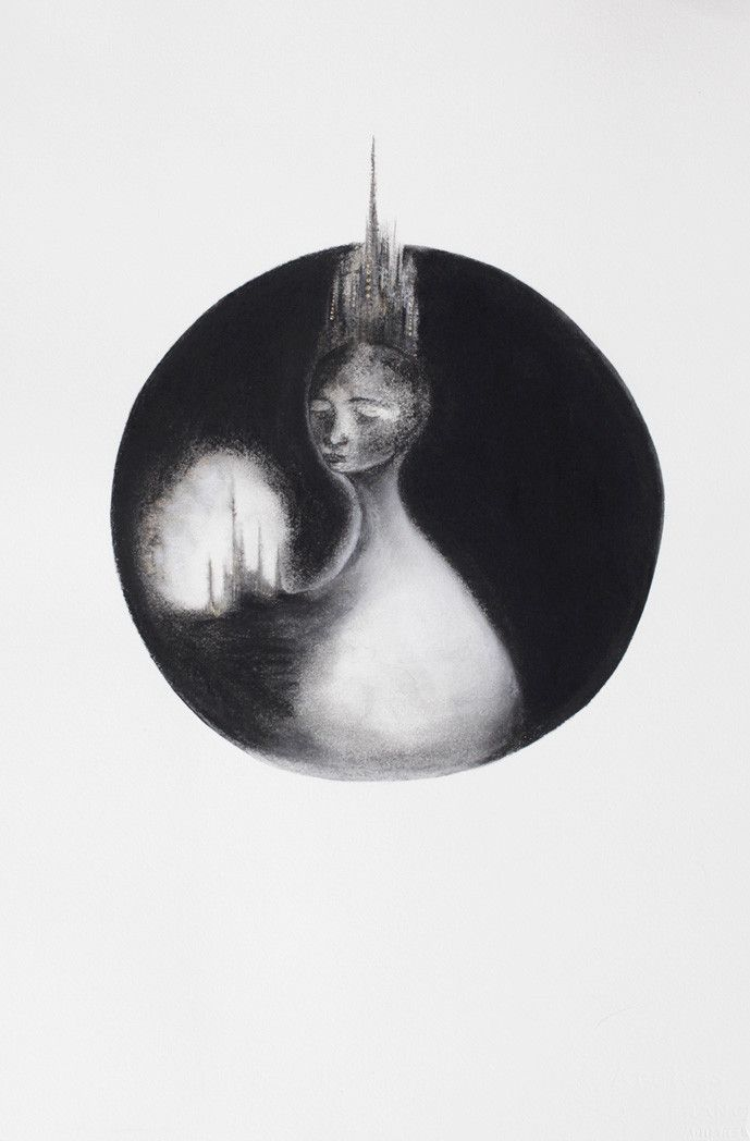 Charcoal, watercolour and acrylic, framed 46 x 53 cm Eleanor Rex
