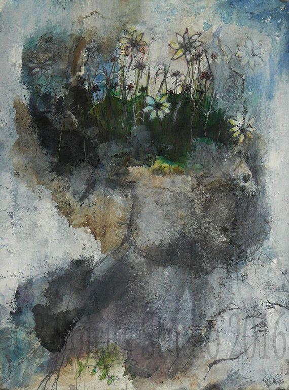 """Hedendaagse kunst van de oorspronkelijke raw expressie brut Mixed Media schilderij op papier-""""Afgrond"""""""