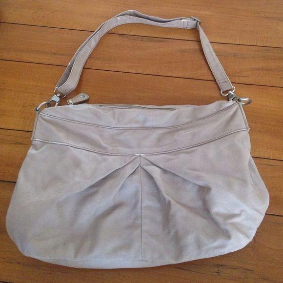 BCBG faux leather cream shoulder bag Fairly worn, but good condition. BCBG Bags Shoulder Bags