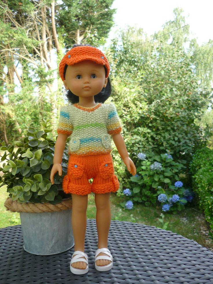 Ensemble short, tee-shirt et visière pour poupée Chérie (Adaptation du modèle de Nathalie du blog «Histoires de Poupées» du 03 août 2015) - http://p5.storage.canalblog.com/55/58/1066432/105804914.pdf