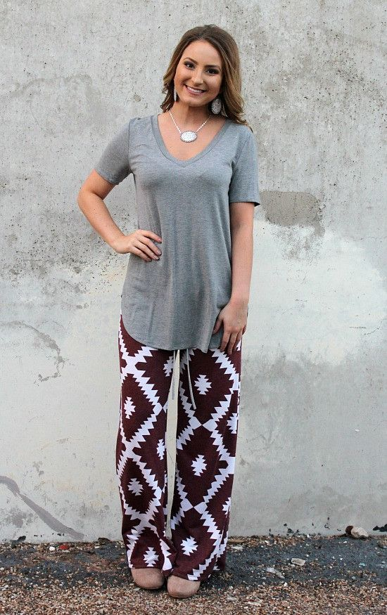 Sweet Dreams Lounge Pants in Maroon Aztec – Giddy Up Glamour Boutique