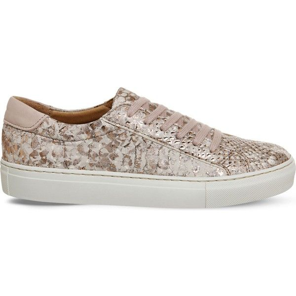 Office Axel python-print leather trainers ($40) ❤ liked on Polyvore featuring shoes, sneakers, genuine leather shoes, python leather shoes, snake print shoes, anchor shoes and python sneakers