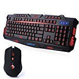 Koolertron Gaming Tastatur und Maus Set beleuchtet USB Kabelgebunden Mouseapad Wasserdicht Ergonomisch LED Hintergrundbeleuchtung Rot Balu Lila 114 Tasten Multimedia Tastenkombination ABS Einstellbar DPI 800/1200/1600/2400 Combo PC Laptop (QWERTZ Deutsch Tastaturlayout) Schwarz