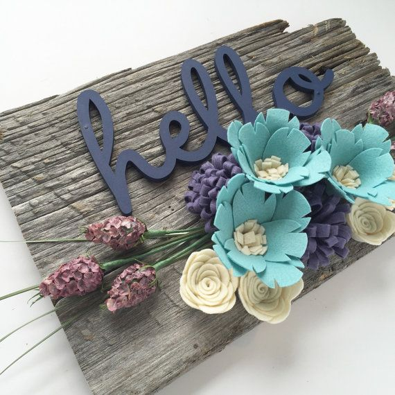 Barn Wood Felt Flowers Laser Cut Wooden Sign