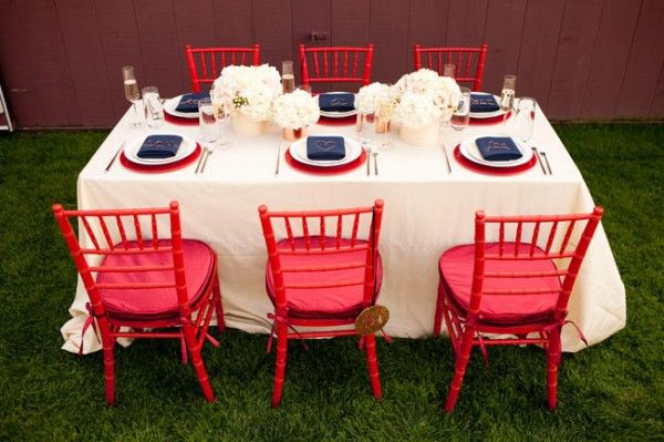 red-white-blue-wedding-ideas for Patriotic / Memorial Day / 4th of July Wedding - table settings, decor, favors, etc!