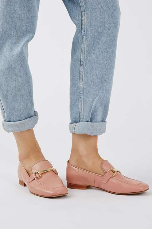 Borrow from the boys with these luxe leather loafers. An on-trend androgynous style, these easy slip-ons are totally wearable with a metallic hardware detail, and perfect styled back with tailored trousers. #Topshop