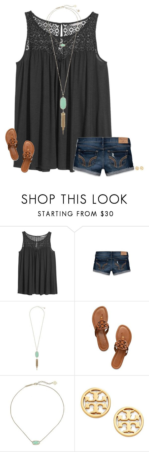 """""""ewwwww new update"""" by secfashion13 ❤ liked on Polyvore featuring H&M, Hollister Co., Kendra Scott and Tory Burch"""