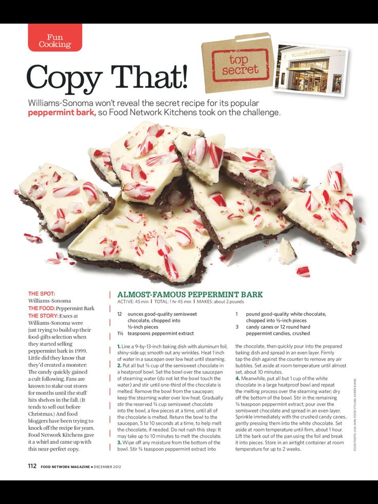 Williams-Sonoma peppermint Christmas bark
