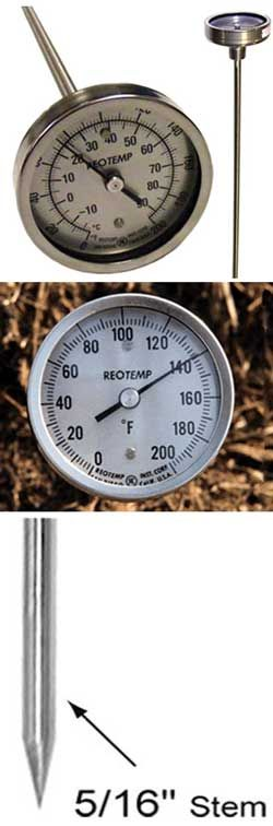 The Heavy Duty Reotemp Compost Thermometers are the most common industrial models we sell. They are well suited for the harsh compost environment. Available with temperature scales in Fahrenheit, Celsius or both.