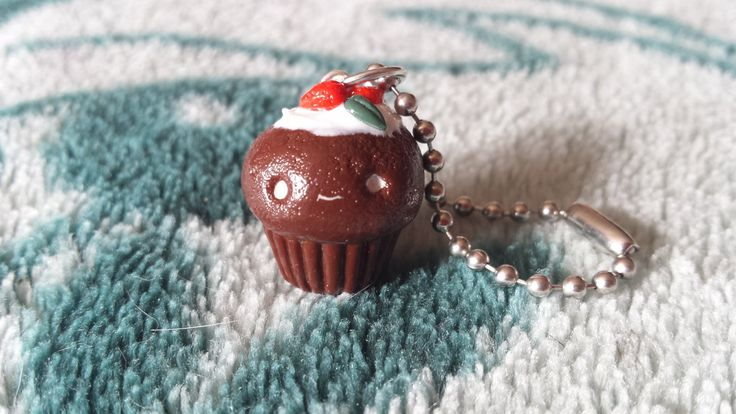 Chocolate strawberry cupcake polymer clay charm by ProjectPinkPanda on Etsy