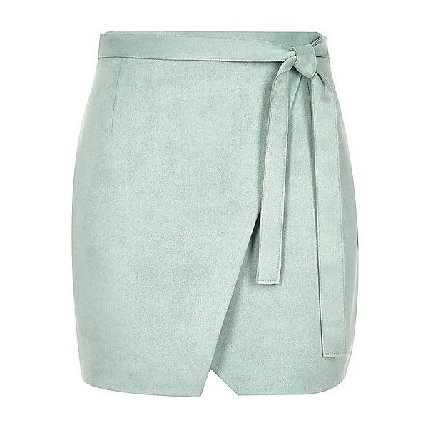 Mint green faux suede wrap mini skirt ❤ liked on Polyvore featuring skirts, mini skirts, short wrap skirt, mini skirt, wrap mini skirt, short skirts and mint skirt