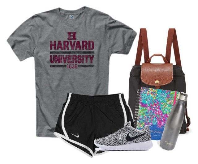 """""""Off to class"""" by ellekatherinee ❤ liked on Polyvore featuring Ringspun, Longchamp, Lilly Pulitzer, NIKE and S'well"""