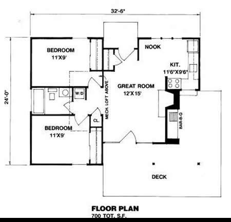 700 sq ft house plan 09 006 225 from planhouse home for Small house plans under 700 sq ft