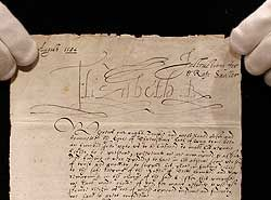 """Elizabeth dated Oct. 31, 1584 in which she criticizes her rival in remarks intended to be shown or read to the Scottish queen. Among her observations, the English monarch writes of Mary's """"sundry hard and daungerous coorses heald towardes us."""""""