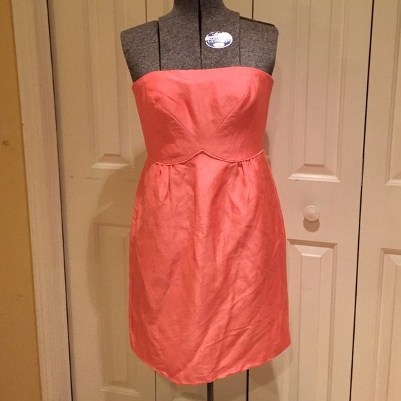 JCrew cocktail or semi dress Tangerine. Worn once J. Crew Dresses Strapless