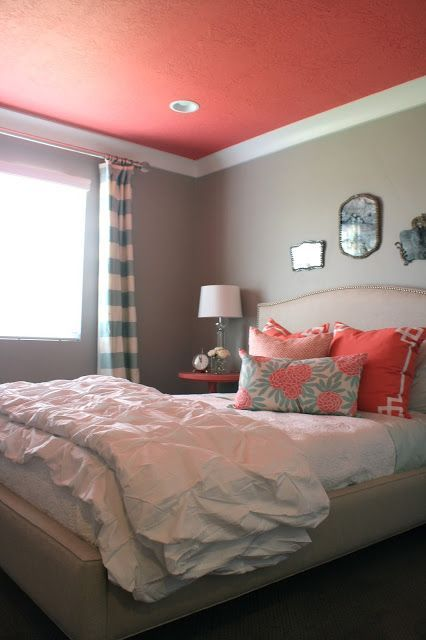 Painted Ceilings for Every Room: Coral Ceiling Bedroom #paintedceilings #bedrooms #cottagestyle #coastalstyle #coral http://thedistinctivecottage.com