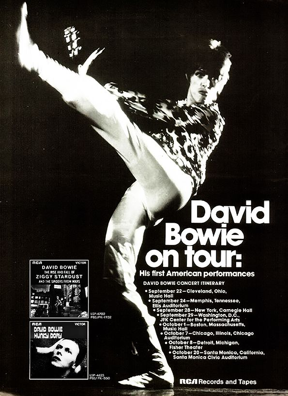 Advertise poster Bowie Tour U.S. 1972