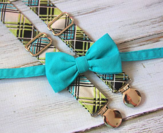 Dark Teal Bow Tie and Cream, Lime Green, Teal Blue and Black Plaid Suspenders set ( Men, boys, baby, toddler, infant Suspender and Bowtie )
