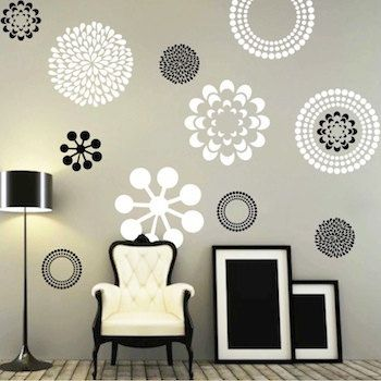 Modern Flower Bedroom Wall Decals Stickers Murals, Removable Bedroom Decals,  Floral Decals For Bedroom, Wallpaper Decals For Bedroom, F29