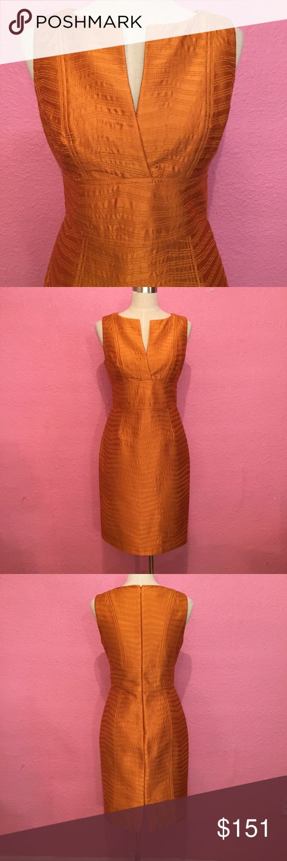 Kay Unger quilted silk dress.  Stunning!!! Kay Unger quilted silk dress.  Stunning!!!  A pumpkin orange Kay Unger Dresses