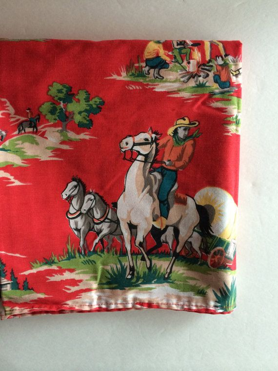 Retro Cowboy Fabric  / Country Western Valance in by VintageByBeth