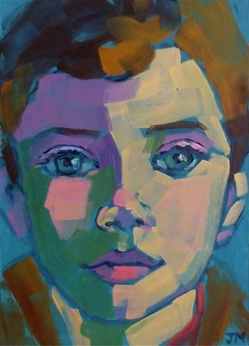 """""""Half-Hour Portrait"""" - Original Fine Art for Sale - © Jessica Miller. 7x5, acrylic on board. Email to get your own!"""