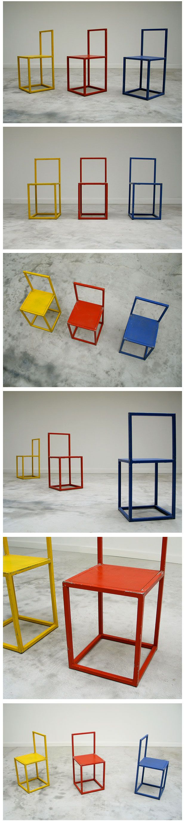 3 Cubistic chairs Donald Judd Large