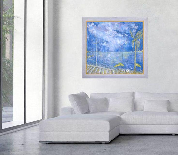 Fine art print, blue white  giclee print on canvas, Marilion Fine Art, SEA at CANNES by MarilionFineArt on Etsy