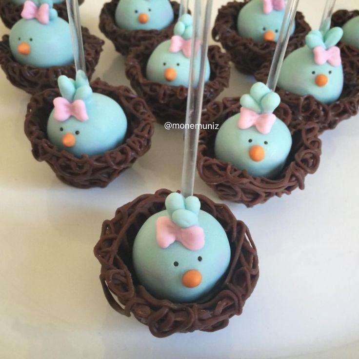 Passarinhos fofinhos no ninho. Popcakes. #jardim #passarinhos #festapassarinho #jardimmonemuniz ...