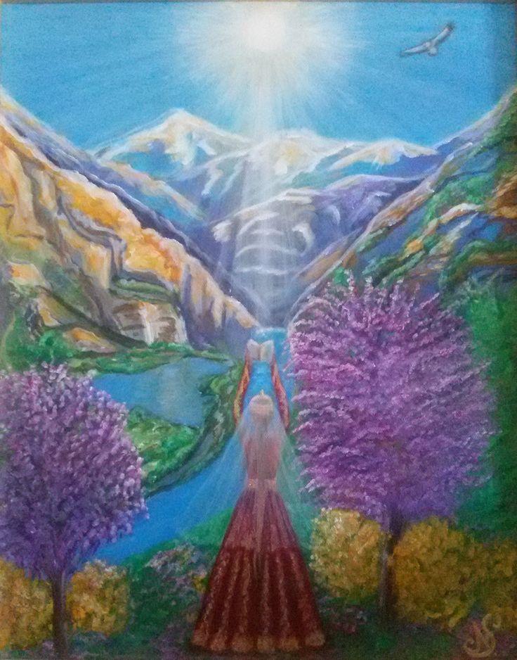 """SACRO MANOSCRITTO""""  L'immensa forza ed i poteri infiniti, provenienti dal cielo, che vengono sulla terra, attraverso la saggezza dei nostri antenati,la quale viene conservata all'interno del Sacro Libro, insegnante e maestro del percorso terreno. Il mondo degli spiriti si interseca con quello umano,svelandoci sconosciuti ed immensi poteri, facenti parte del nostro """"IO DIVINO"""".  TECNICA acrilico su tela DIMENSIONI 40x50 PREZZO €2,000"""