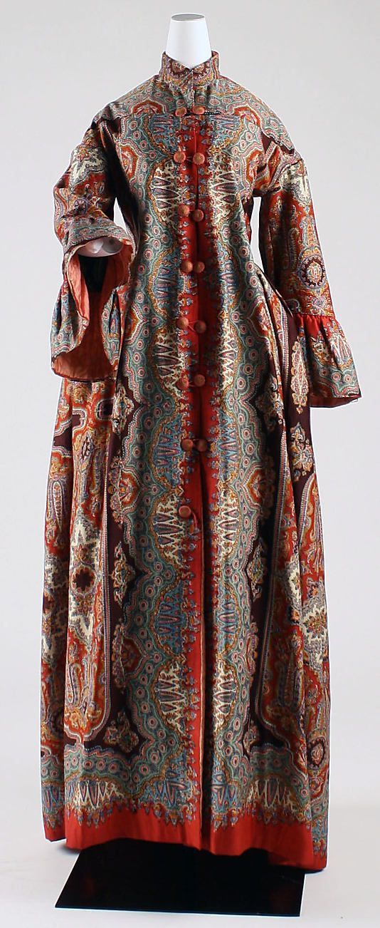 A wool and silk dressing gown from the mid-1850s. I imagined my character Clare Hetton as loving, and wearing, such garments with their more informal shapes and exotic fabrics. Dressing gowns of the period were much more formal than their bathrobe descendents today, as this beautifully constructed garment shows.
