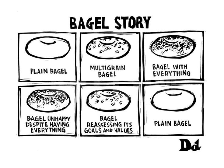 Bagel Story. (an allegory about life) 1. Plain bagel 2.multigrain bagel 3.… - New Yorker Cartoon Premium Giclee Print by Drew Dernavich at Art.com