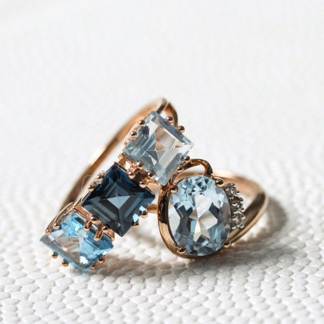 Luna rings with Blue Topaz and White Topaz from Carrington, a perfect gift for your lover. Now available on cocomi.com
