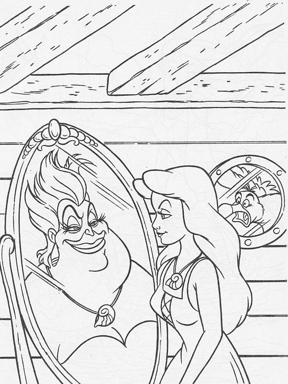 Walt Disney Coloring Page Of Ursula Vanessa And Scuttle From The Little Mermaid HD Wallpaper Background Photos Pages