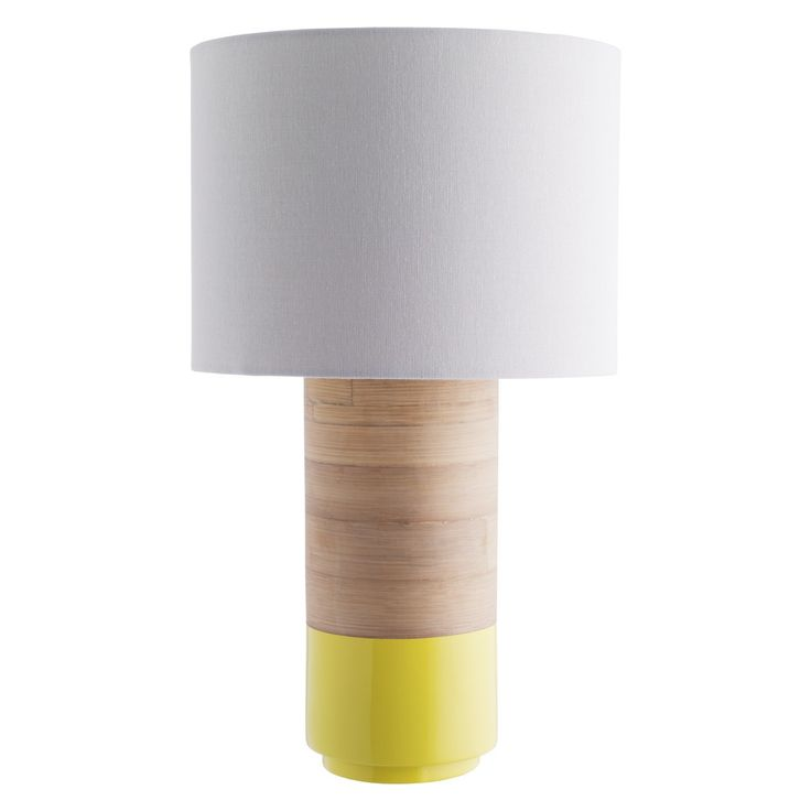TUB Yellow spun bamboo table lamp with fabric shade | Buy now at Habitat UK