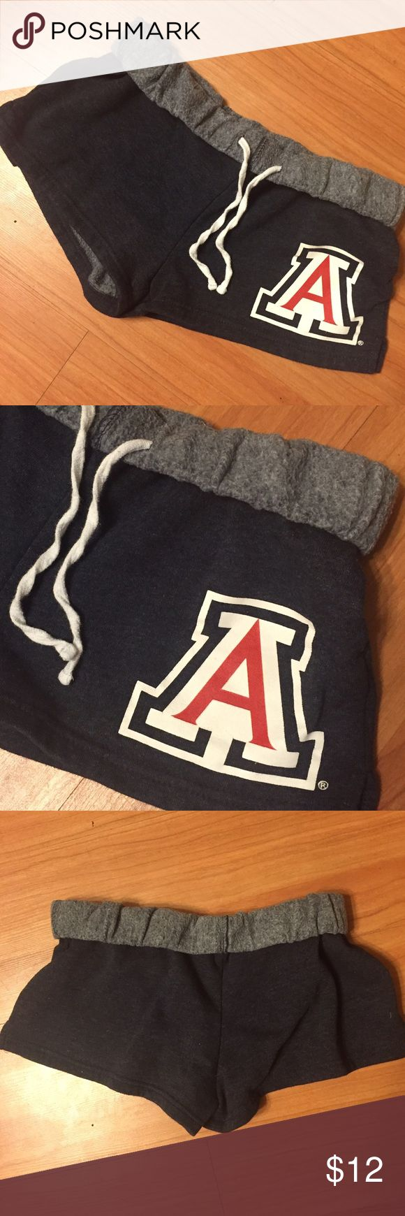 U of A wildcats cotton shorts NWOT blue U of A, University of Arizona Wildcats soft cotton roll down top shorts. Size small. Super soft and comfortable! Shorts