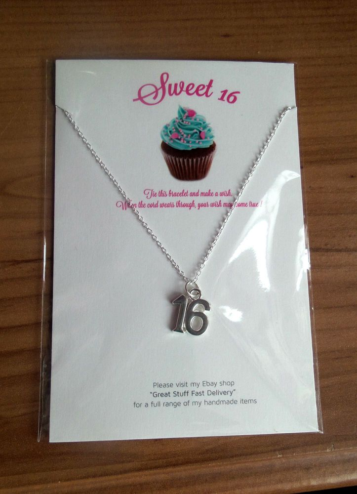 handmade SWEET 16 th Birthday NECKLACE on 24 silver plated chain and card 2in1