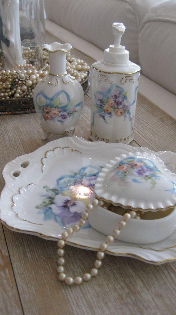 Vintage vanity set, handcrafted porcelain, Dakin, Shabby Chic, roses, pansies, aqua