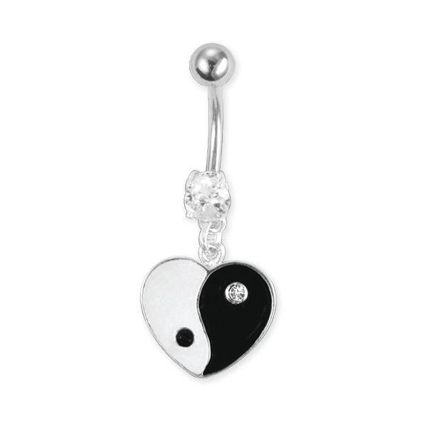 Bauchnabelpiercing mit Herz im Ying Yang Design von piercingdiscount24 auf DaWanda.com