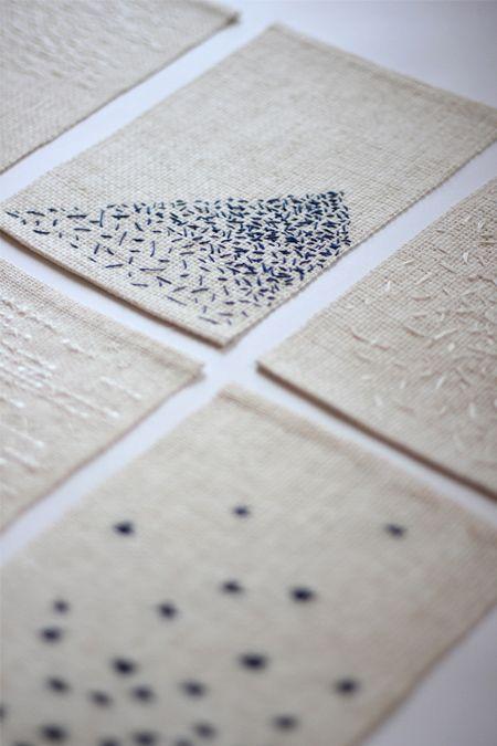 Linen w/thread in freehand patterns. Great art piece!