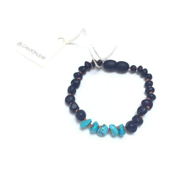 Raw Black Amber Teething Bracelet, Turquoise Howlite