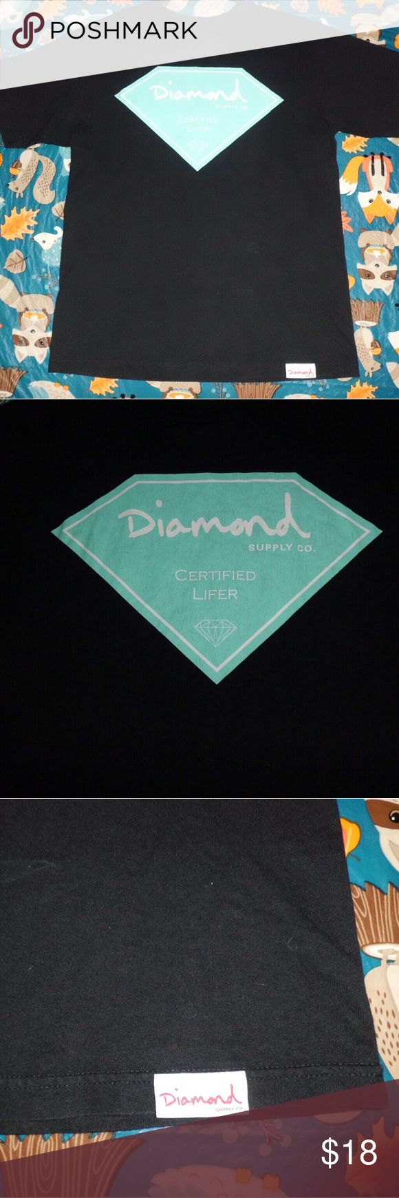 Diamond Supply Co Medium Black Tee! This shirt is in great condition. Made by Diamond Supply Company, a brand known for quality shirts and clothing. It is black with Certified Lifer printed on it and a size Medium. Diamond Supply Co. Shirts Tees - Short Sleeve