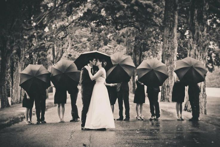Wedding party in the rain |Photography by Rachel Swain and Kristina Smith | SnapKnot