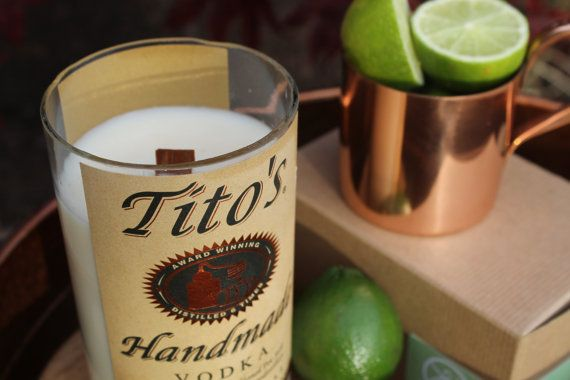 Tito's Vodka label on XL long-burning soy candle in Ginger