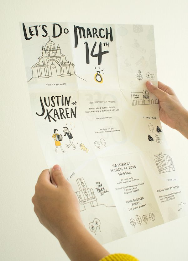 A Quirky Wedding Invitation That Unfolds Into A Cute Hand-Illustrated Poster - DesignTAXI.com