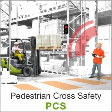 The Pedestrian Crossing Safety (PCS) solution is a system of traffic lights that indicates the presence of pedestrians crossing to forklift drivers.