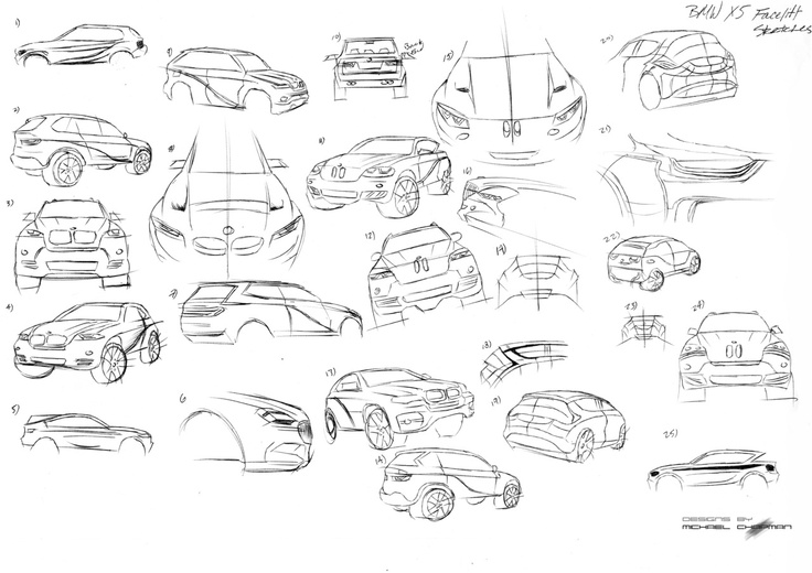 vdubindahaus:      Redesigning the BMW x5 for a project. These are some quick thumbnails. Influences are the BMW 2002 and the i series