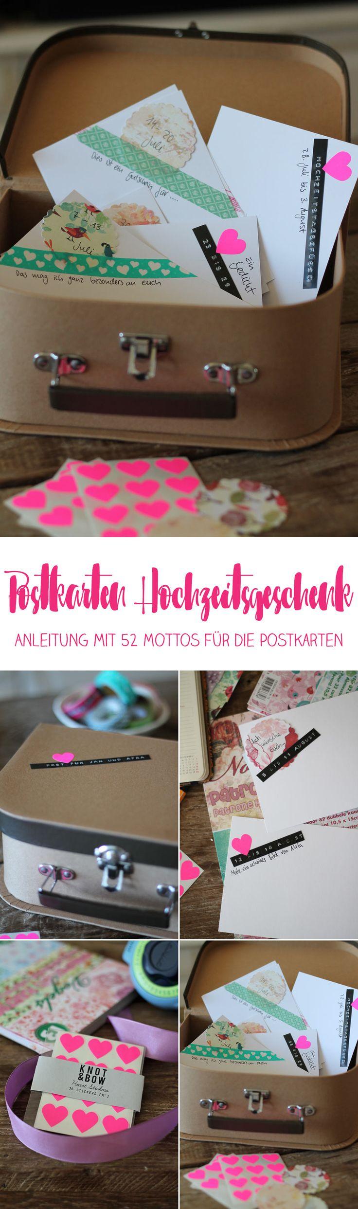 Postkarten Hochzeitsgeschenk - DIY Anleitung inklusive 52 Mottos für die Postkarten - Hochzeitsgeschenkidee